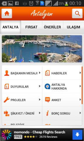 Antalya Şehir Rehberi – Mobil Cep Uygulaması