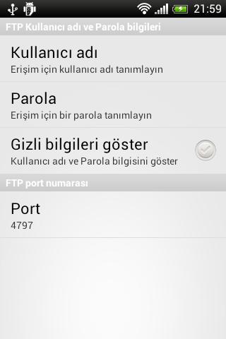 Kablosuz Dosya Transferi için Android Uygulaması