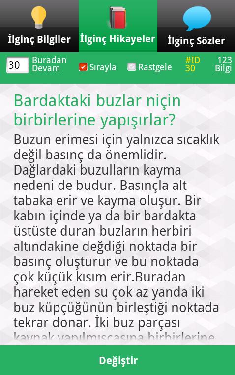 İlginç Bilgiler – Android Uygulaması