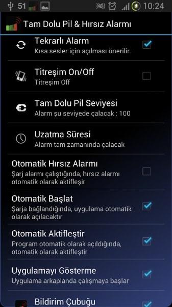 Android için Hırsız Alarmı ve Şarj Uyarıları Uygulaması