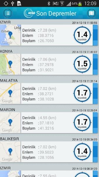 AFAD Deprem Bilgi Uygulaması