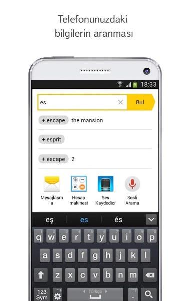 Android için Yandex Arama Uygulaması
