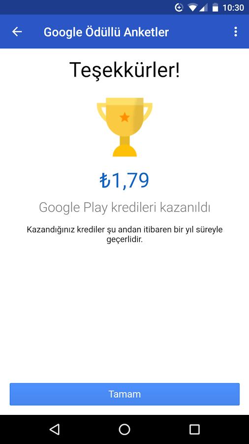 Google Ödüllü Anketler ile Google Play Parası Kazanın