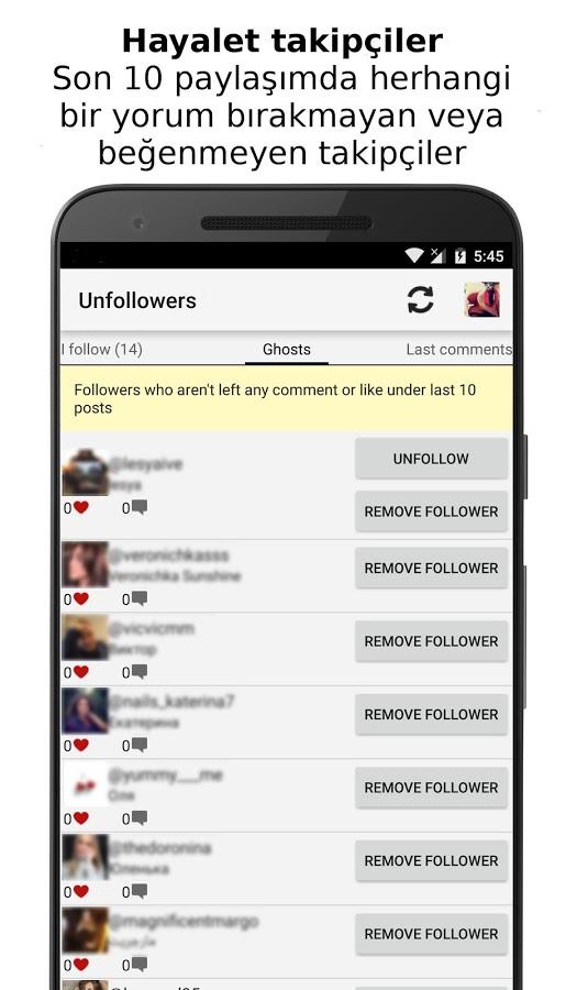 Takipçi Listesi – Instagram'da Takibi Bırakanlar