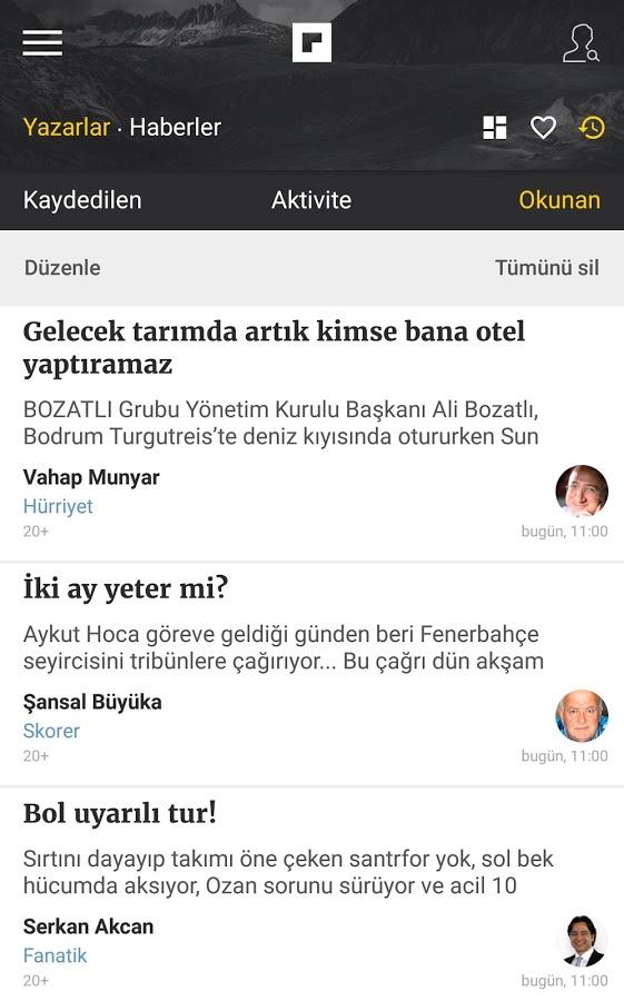 Köşe Yazarları ve Haberler için Mobil Uygulama