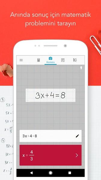 Kamera ile Matematik Problemi Çözün – Photomath
