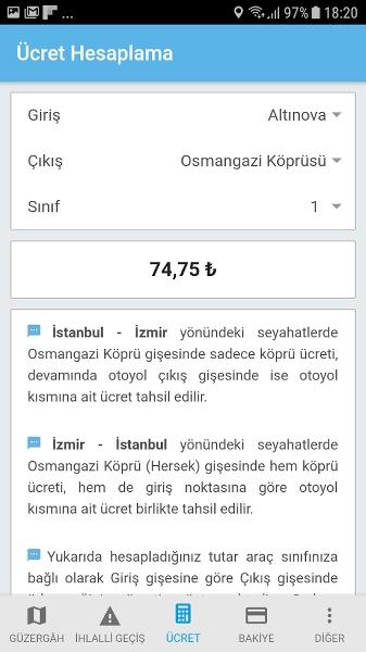 İstanbul Bursa İzmir Otoyolu Ücret Uygulaması