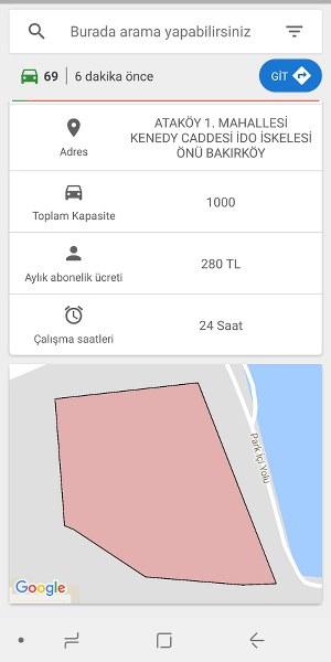 İSPARK Fiyat ve Boş Otopark Android Uygulaması