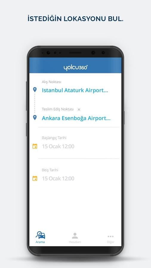 Araç Kiralama Android Uygulaması – Yolcu360