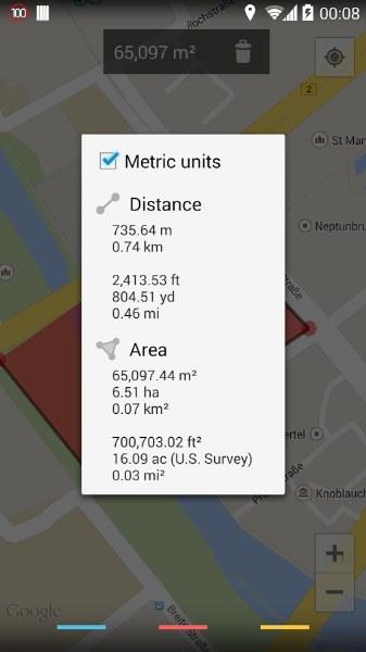 Telefonda Mesafe, Uzunluk ve Alan Ölçümü – Maps Measure