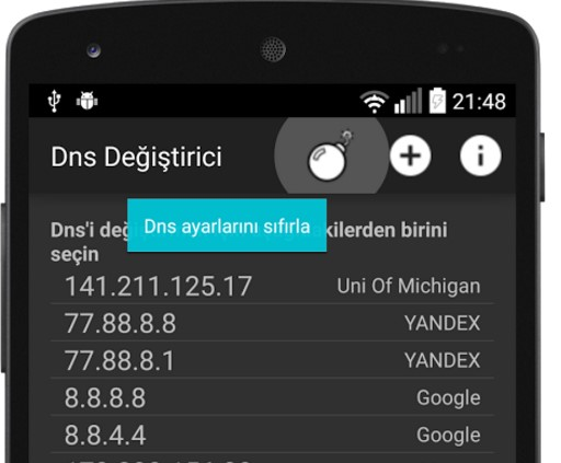 android-dns-degistirme