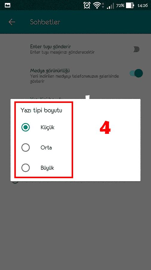 Whatsapp Yazı Boyutu Değiştirme