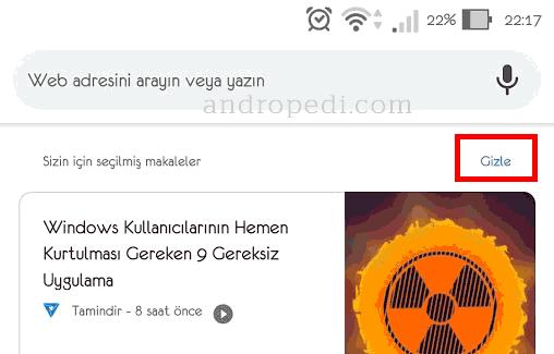 Chrome sizin için seçilmiş makaleleri kapatma
